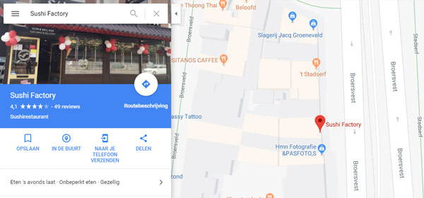 Restaurant in Google Maps