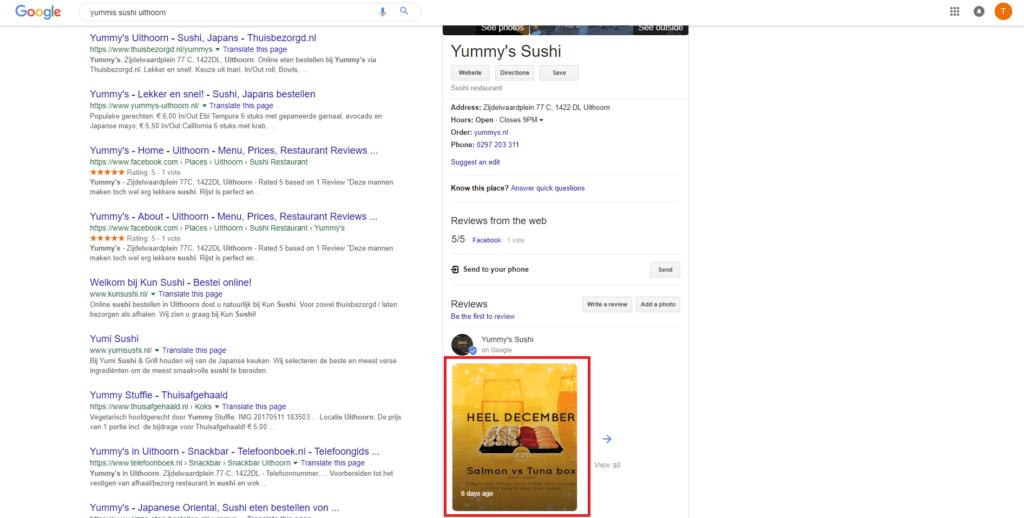 voorbeeld google post